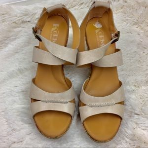 Korks by Kork-Ease Cream Leather With Floral Wedge